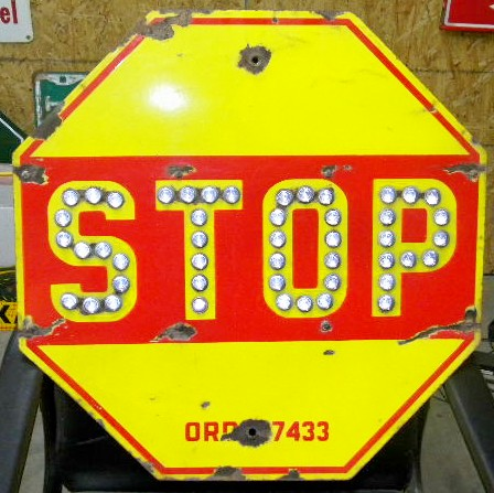 Photo Old Early Porcelain Stop Sign W Cat Eyes Yellow