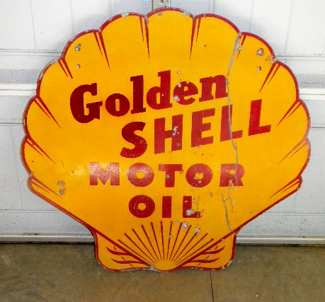 photo old golden shell motor oil dsp 36 inch sign