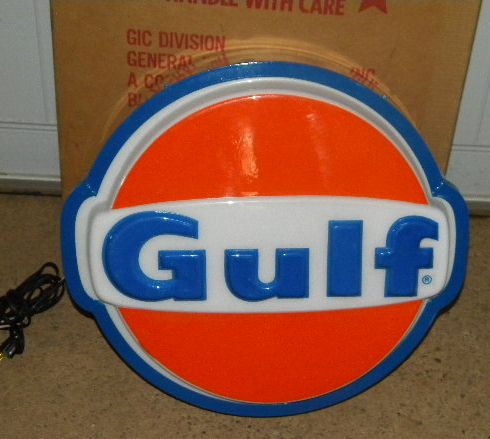 $OLD NOS Gulf 19.5 inch Light Up Sign w/ Shipping Box