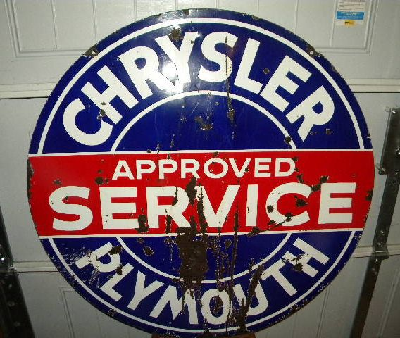 $OLD Chrysler Plymouth Service Double Sided Porcelain Sign