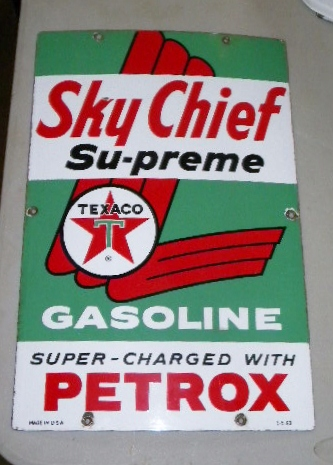 $OLD Original Texaco Sky Chief Supreme Porcelain Gas Pump Sign