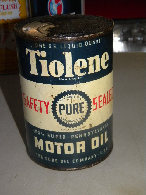 $OLD Pure tiolene Empty Motor Oil Quart Can