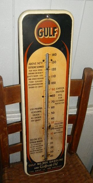 $OLD Gulf Tin Thermometer Original