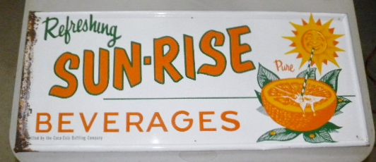 $OLD Sunrise (Coca Cola) Embossed Tin Soda Pop Sign w/ Sun Graphics