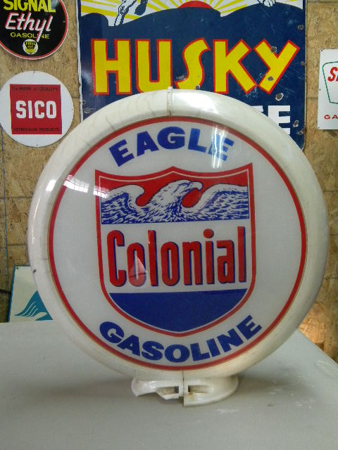 $OLD Colonial Eagle Gasoline Globe on Capco body