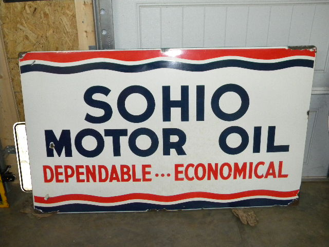 $OLD Sohio Self Framed Porcelain Dependable Economical Motor Oils Sign