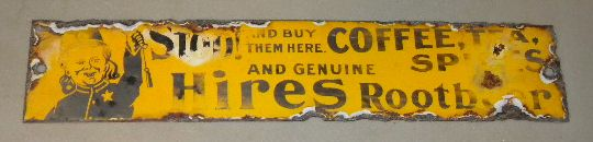 $OLD Scarce Hires Root Beer Porcelain Door Push Sign w/ boy cop graphic!