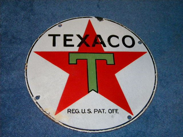 $OLD Odd Texaco 10 inch lubester Sign