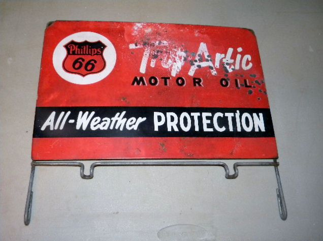 $OLD Phillps 66 Oil Can rack Topper Sign Trop Artic