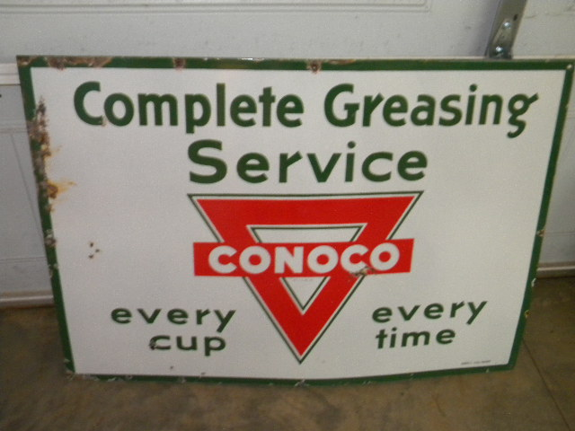 $OLD Conoco Greasing Service Porcelain Sign