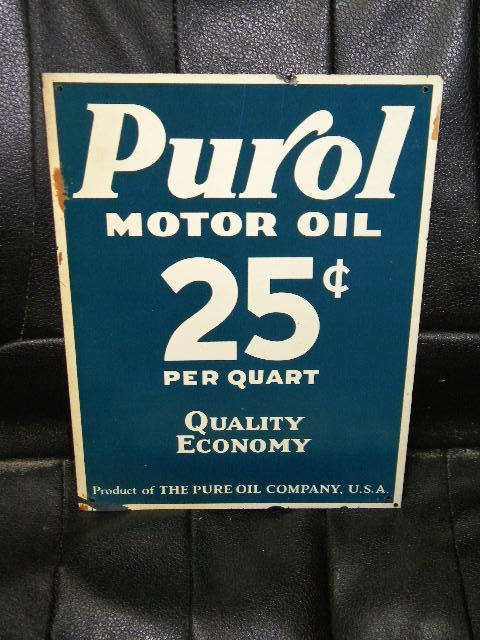 $OLD Purol Motor Oil SST Tin Sign