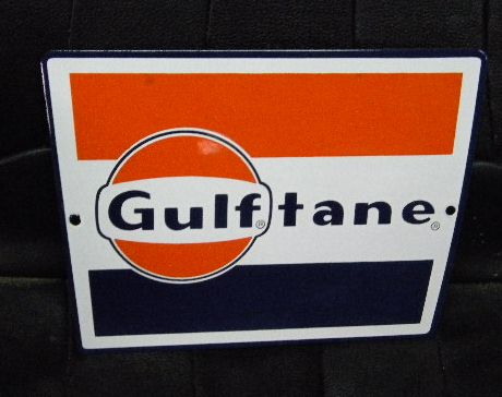 $OLD Gulftane Porcelain Gas Pump Plate Sign