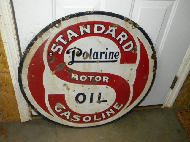 $OLD Standard Polarine DSP Porcelain Sign