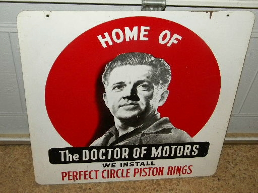 $OLD Perfect Circle Piston Rings DR of Motors Double Sided Tin Sign