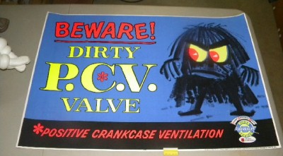 $OLD Old Chevrolet PVC Valve Dealer Sign w/ MONSTER Graphics