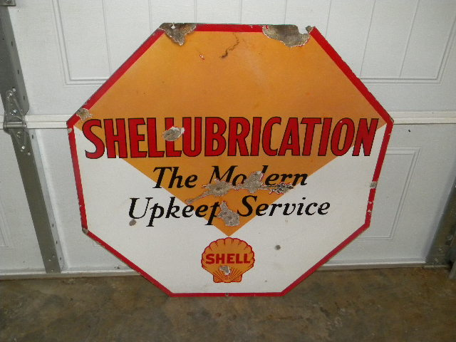 $OLD Shell Shellubrication DSP Porcelain Sign 36x36