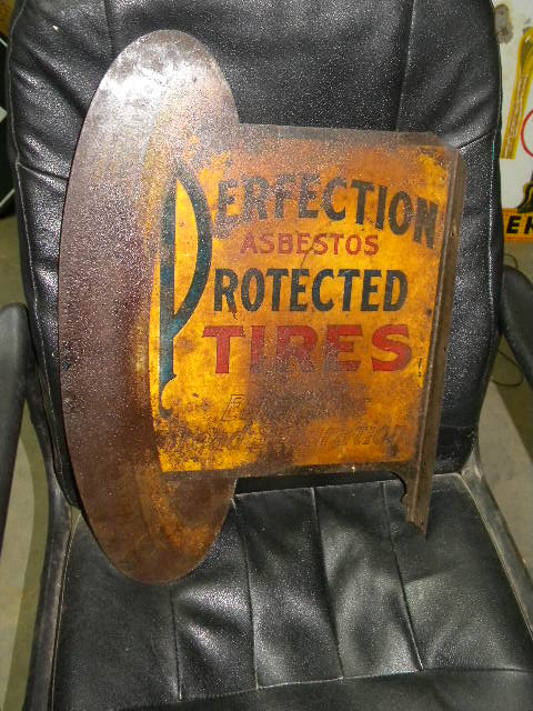 $OLD Perfection Protected Tires Early DST Tin Litho Flange Sign w/ Cord Tire