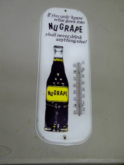 $OLD Nugrape Tin Thermometer