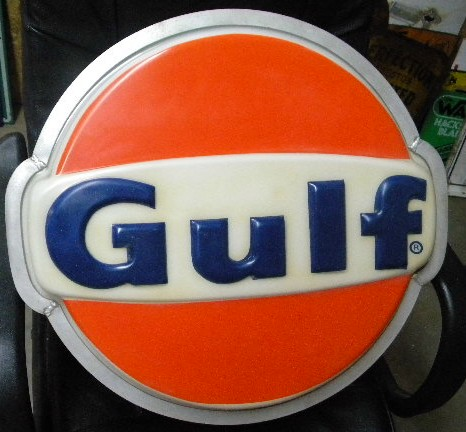 $OLD Gulf Light Up Sign (small size) w/ Can