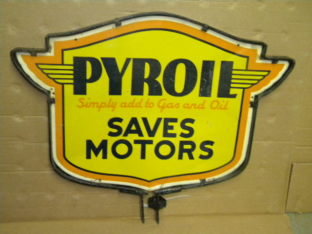$OLD Pyroil DST Motor Oils Sign w/ Frame