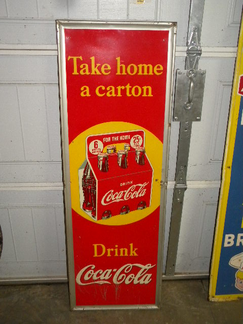 $OLD Vertical Coca Sign w/ 6 Pack Graphics