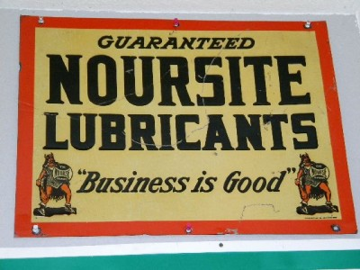 $OLD Noursite Lubricants Embossed Tin Sign w/ Viking ORIGINAL
