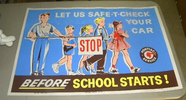 $OLD Pontiac Auto Dealer Sign w/ School Kids Graphics