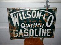 $OLD Wilson Co Gasoline Porcelain Sign