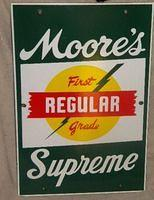 $OLD  Moore's Supreme Porcelain Gas Pump Plate Sign SUPER NICE