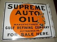 $OLD Gulf Refining Supreme Auto Oil Double Sided Porcelain Flange Sign