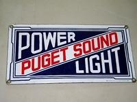 $OLD Early Puget Sound Power Light Porcelain Sign