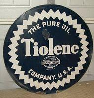 $OLD Pure Tiolene Double Sided Porcelain Sign