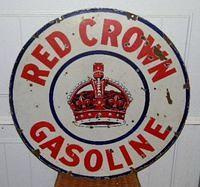 Red Crown Double Sided Porcelain 30 Inch Sign $OLD