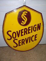 $OLD Sovereign Service Double Sided Porcelain Sign