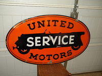 $OLD United Service Double Sided Porcelain Sign Veribrite