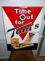 $OLD Time Out For Toms Original Embossed Tin Country Store Sign