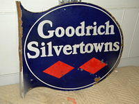 $OLD BF Goodrich Silvertowns Tires Porcelain Flange Sign