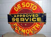 $OLD Desoto Plymouth DBL Sided Porcelain Sign