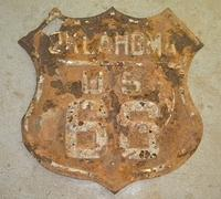 $OLD Original Route 66 Oklahoma Route Shield Sign Fully Embossed 1930s
