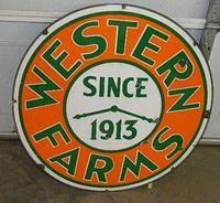 $OLD Western Farms Since 1913 Porcelain Los Angeles California Porcelain Sign