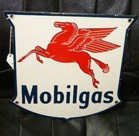$OLD Mobilgas Porcelain Gas Pump Sign with Pegasus