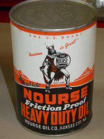 $OLD Full Nourse Motor Oil Quart Can w/ Viking