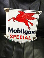 "$OLD Mobilgas ""Special"" Porcelain Gas Pump Sign"