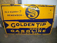 $OLD Stoll Golden Tip Gasoline Porcelain Sign
