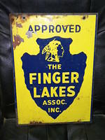 $OLD Finger Lakes DST Tin Sign with Indian Graphics New York