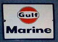 $OLD GULF MARINE PORCELAIN PUMP SIGN