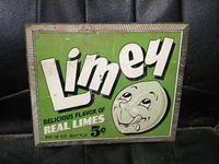 $OLD Limey Limes Tin Soda Pop Sign w/ Graphics