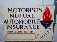 Graphic Auto Insurance Porcelain Flange Sign w/ Graphics $OLD