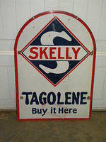 $OLD Skelly Tagolene Double Sided Porcelain Large Tombstone Sign