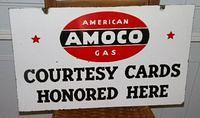 $OLD Amoco Credit Cards Honored here Double Sided Porcelain Sign